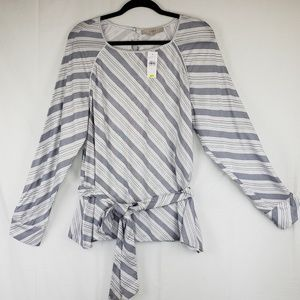Loft blouse white and navy large